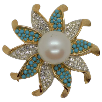 Sarah Coventry 1969 Ultra Fashion Collection Blue Bahama Brooch