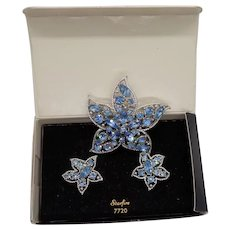 Sarah Coventry 1967 Star Fire Brooch and Clip Earring Set-Earrings in Original Box