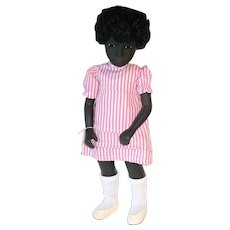 "Vintage 1970s Sasha Cora ~ #109 Black 16"" Doll in Pink Stripe Dress ~ MIB"