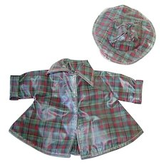 "Tiny 10"" Terri Lee ~ Plaid Raincoat and Hat"
