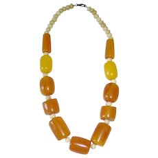 "Vintage Large Chunky ~ Egg Yolk / Butterscotch  20"" BALTIC AMBER NECKLACE"