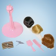 1964 Vintage Barbie Wigs, Wig Stand, Accessories