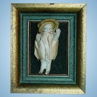 Antique Tiny All Stone Bisque Doll in Frame