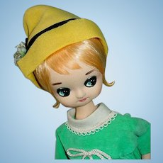 "Vintage 1960s Japanese Big Eye Doll ~ Bradley 18"" Girl in Mod Dress"