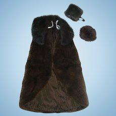 "Brown Mink Cloak, Hat, Muff ~ DIMITHA For 16"" Fashion Dolls"