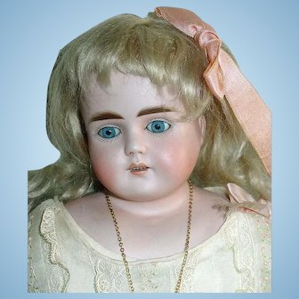 "Antique 16"" German Bisque ABG 698 Doll ~  Orig Kid Leather Body"