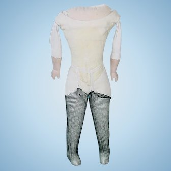 """Vintage 12"""" Replacement Antique Doll Body For Shoulder head W/Stockings"""