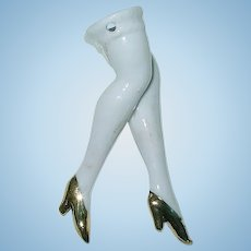 Vintage Art Deco ~ Porcelain Pin Cushion Doll Legs w/High Heels