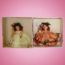 2 Nancy Ann Storybook Dolls ~ Autumn & Flossie ~ MIB ~ Hard Plastic