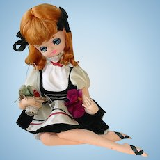 Vintage 1960s Japanese Big Eye Doll ~ Bradley Sitting Girl