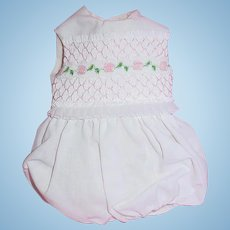 """Adorable 1970-80s Doll 14"""" Doll Smocked Romper ~ Boneka Style"""