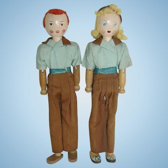 "Two Wood Schoenhut 11 1/2"" PINN FAMILY Dolls"