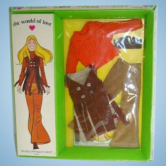 Mod Era Hasbro 1971 World of Love ~ Outfit ~ Suede Fringed Vest