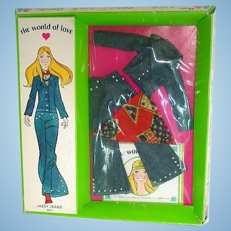 Mod Era Hasbro 1971 World of Love ~ Outfit ~ Jazzy Jeans