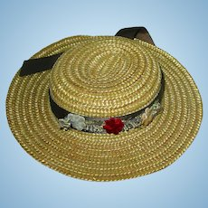 """Vintage 7"""" Boater Style Straw Hat For Bisque Doll"""