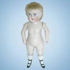 "6"" Early German ~ All Bisque Wrestler Type Doll with Chunky Legs and Bootines"