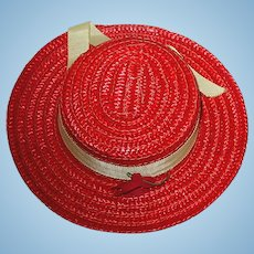 "Vintage Original 16"" TERRI LEE ~ Red Straw Hat"