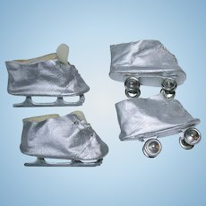 "Original 16"" TERRI LEE ~ Silver Ice Skates and Roller Skates"