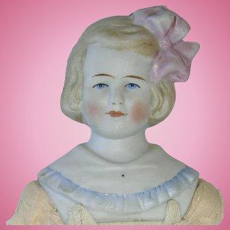 "Antique German 10"" HERTWIG Parian Head Doll TLC"