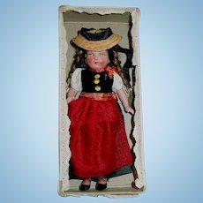 """Vintage 6 1/2"""" German CELLULOID Girl Doll ~ Mint in Box"""
