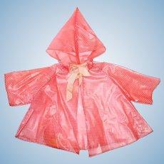 "1950s 16"" TERRI LEE ~ Pink Raincoat W/Attached Hood"