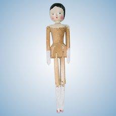 """10"""" Vintage PEG WOODEN Grodnertal Doll ~ Germany"""