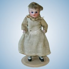 """Antique 3.75"""" German Doll House Girl ~ All Original Maid ~ All Bisque"""