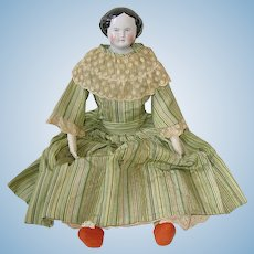 "Antique 16"" German ~ High Brow CHINA HEAD Doll"