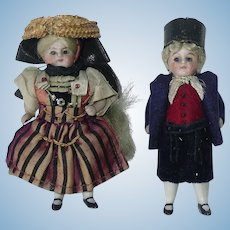 "Antique 3 .75"" All Bisque Pair of Dolls ~ All Original"