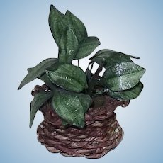 Dollhouse Miniature Indoor Plant in Wicker Basket 1:12 Scale