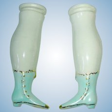 "Vintage Replacement 3 1/2"" CHINA Doll LEGS ~ Blue Boots"