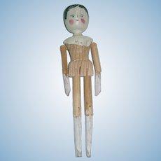 """Vintage 11"""" Peg Wooden Doll"""