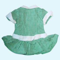 """Vintage 1950s 16"""" Terri Lee ~ Green Checked Low Waist DRESS ~ Tagged"""