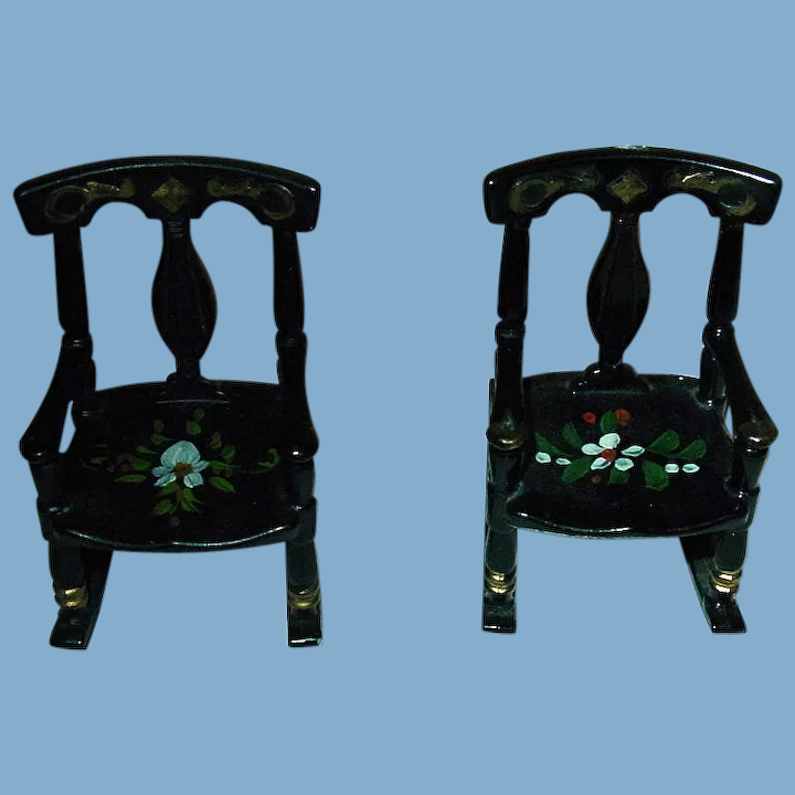Two 1950s Renwal Black Rocking Chairs