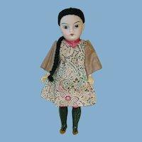 "Antique Oriental 8.5"" Bisque Head Doll ~ All Original"
