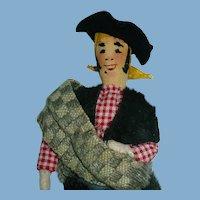 """Vintage 9"""" Cloth Cowboy Doll ~ Portugal Ethnic, Folk Doll"""