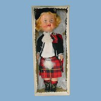 "1950s Vintage 12"" Scottish Athole Doll ~ Hard Plastic ~ Highlander Doll ~ W/Box"