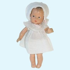 """1930s 7.5"""" Composition R & B Toddler Doll ~ Dionne Type"""