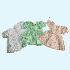 "Lot of 3 ~ 1950s Hard Plastic ~ 16"" Doll Dresses ~ 2 Fit Terri Lee"