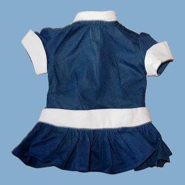 "Vintage 1950s 16"" Terri Lee ~ Navy Blue Drop Waist DRESS ~ Tagged"