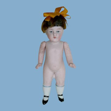 """Adorable 4"""" All Bisque Doll ~ #176 5/0 ~ Painted Eyes Orig. Wig"""