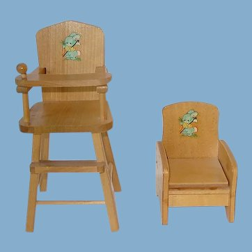 "Vintage 1950s Strombecker 8"" Ginny Potty Chair & High Chair"