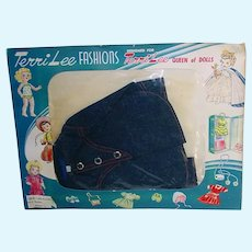 "Vintage 16"" Terri Lee Fashions ~ Jerri Lee Denim Jacket ~ MIP ~ 1950s"