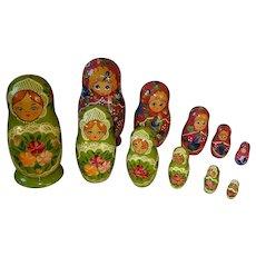 "2 Sets of Vintage 7"" RUSSIAN Nesting Doll Sets Signed Ceppueb"