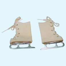 "Pair of 1940s Doll ICE SKATES ~ Faux Suede ~ 2 1/4"" long by 3"" tall"