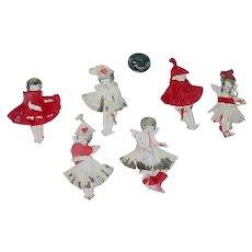 "6 Adorable Little 2"" Paper Valentine Girl Fairies"