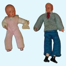 """Vintage 3-4"""" Dollhouse Dolls By Caco ~ Germany Father & Baby"""