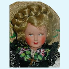 """12"""" Vintage Celluloid Provincial Doll ~ French All Original"""