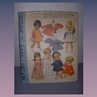 """McCall's Vintage Pattern for Betsy Wetsy, Baby Giggles, Baby First Step 17""""-18 1/2"""" Dolls."""
