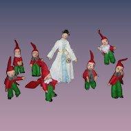 Vintage German BAPS Dolls of Snow White and the 7 Dwarfs set of 8